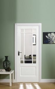 Solid White Primed Downham INTERNAL GLAZED DOOR LONGRIDGE TIMBER